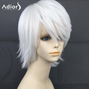 Adiors Short Layered Oblique Bang Straight Christmas Party Synthetic Wig - White - 30inch