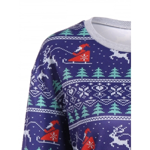 Christmas Drop Shoulder Sweatshirt - BLUE XL