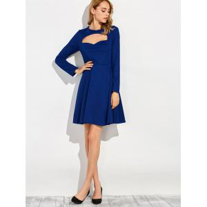 Robe manches longues col rond - Bleu S