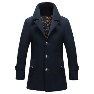 Pocket Button Tab Cuff Single Breasted Coat