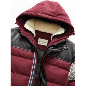 Faux Leather Panel Zip Up Hooded Padded Jacket - RED 5XL
