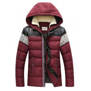 Faux Leather Panel Zip Up Hooded Padded Jacket
