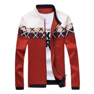 Criss Cross Pattern Stand Collar Zip Up Jacket