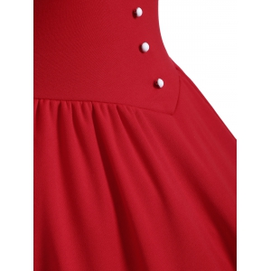 Buttoned Half Sleeves Ruched Flare Dress -