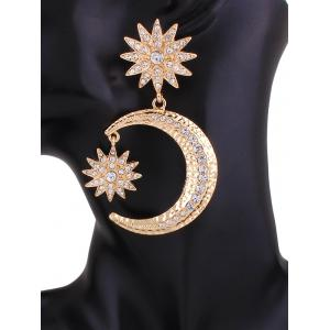 Rhinestone Crescent Floral Earrings -