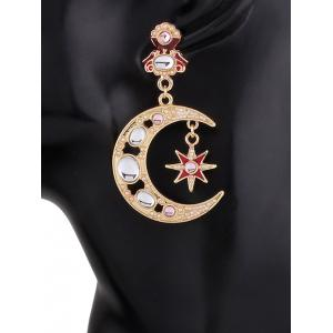 Asymmetric Crescent Sun Faux Pearl Earrings -