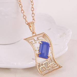 Artificial Gem Geometric Necklace and Earrings - BLUE
