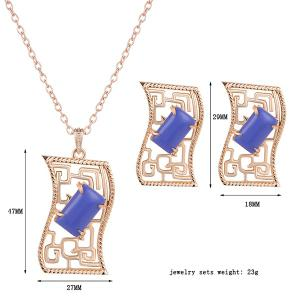 Artificial Gem Geometric Necklace and Earrings -