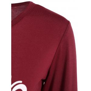 Asymmetrical Graphic Layered Longline Tee - WINE RED XL