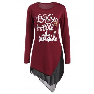 Asymmetrical Graphic Layered Longline Tee - Wine Red - S