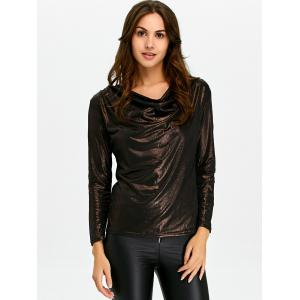 Cowl Neck Fitted Tee - COFFEE XL