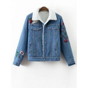 Floral Embroidered Faux Shearling Jean Coat