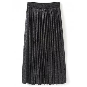 Pleated Knitted Maxi Skirt