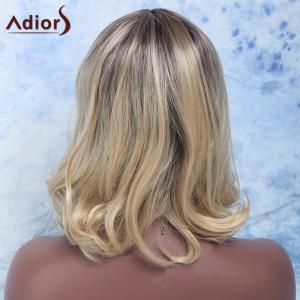 Gorgeous Medium Brown Mixed Blonde Synthetic Fluffy Wavy Centre Parting Wig For Women - COLORMIX