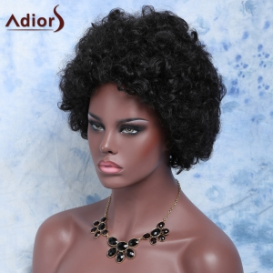 Stylish Heat Resistant Fiber Afro Wig For Women - BLACK BROWN