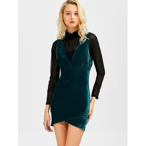 V Neck Mini Velvet Dress -