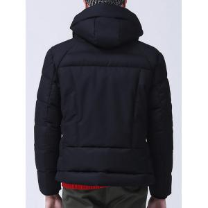 Zippered Pocket Hooded Padded Jacket -
