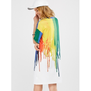 Splatter Paint T-Shirt Dress - COLORMIX XL