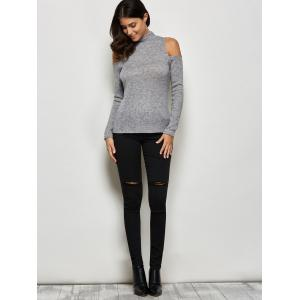 Mock Neck Open Shoulder Knitted Top - GRAY XL