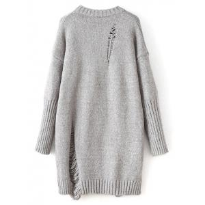 Distressed Long Oversized Sweater - GRAY ONE SIZE