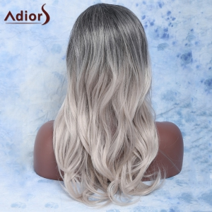 Trendy Long Slightly Curled Mixed Color Side Parting Women's Synthetic Hair Wig - COLORMIX