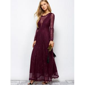 Lace Long Sleeve Mesh Maxi Evening Dress - WINE RED 2XL