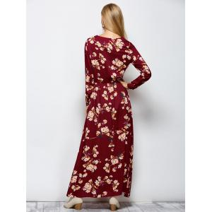 Floral Print Maxi Boho Dress with Long Sleeve - WINE RED L