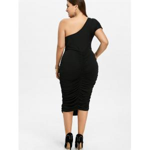 One Shoulder Bodycon Prom Plus Size Cocktail Bandage Dress - BLACK 3XL