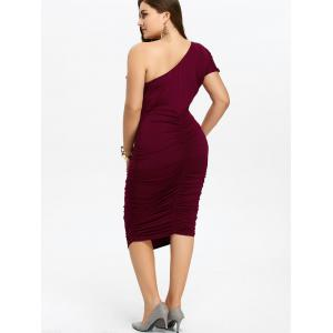 One Shoulder Bodycon Prom Plus Size Cocktail Bandage Dress - WINE RED 3XL