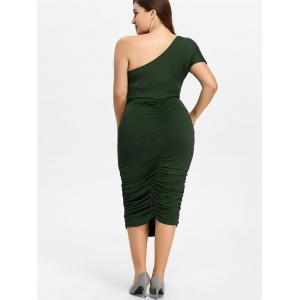 One Shoulder Bodycon Prom Plus Size Cocktail Bandage Dress - GREEN 2XL