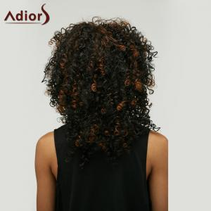 Adiors Highlight Medium Afro Curly Side Bang Synthetic Wig - COLORMIX