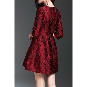 Jacquard Flare Mini Dress - DEEP RED L