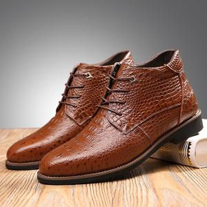 Casual Embossed Lace Up Boots - BROWN 42