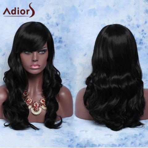 Shop Trendy Long Curly Natural Black Full Bang Synthetic Capless Wig For Women BLACK