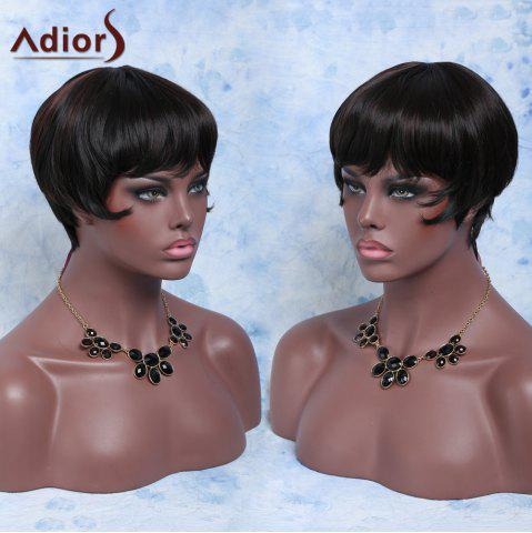 Unique Short Straight Full Bang Capless Heat Resistant Synthetic Wig BLACK AND BROWN