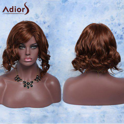 Trendy Short Side Parting Fluffy Curly High Temperature Fiber Wig RED BROWN