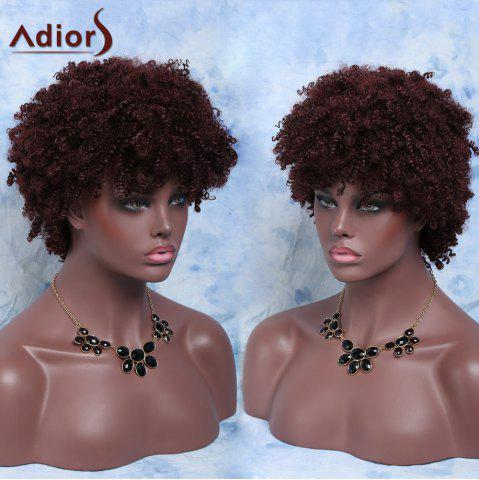 Fashion Fluffy Short Afro Curly Full Bang Synthetic Capless Wig RED BROWN