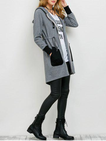 Chic Zipper Up Hooded Coat