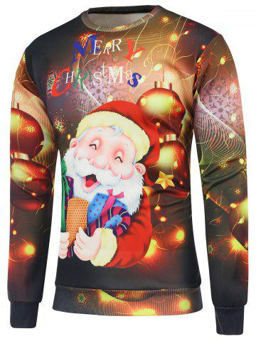 Cheap Christmas Santa Claus Printed Crew Neck Sweatshirt BROWN M