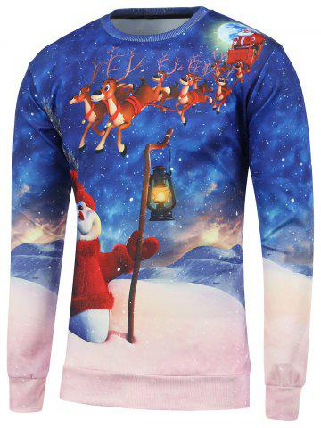 Outfit Christmas 3D Printed Crew Neck Sweatshirt BLUE 2XL