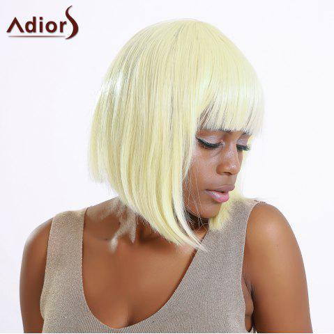 Discount Stylish Straight Synthetic Full Bang Bob Wig For Women LIGHT GOLD