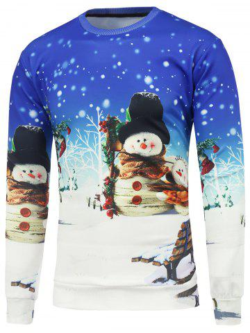 Shop Christmas Snowman 3D Printed Crew Neck Sweatshirt BLUE AND WHITE L