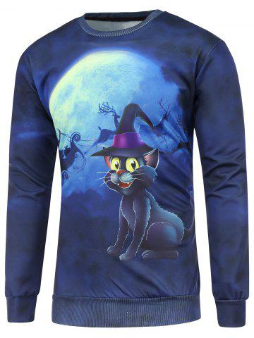 Affordable Christmas Cat 3D Printed Crew Neck Sweatshirt DEEP BLUE L