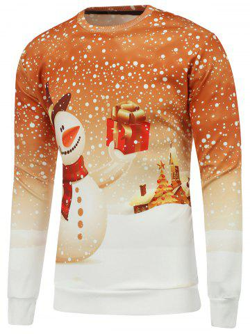 Store Christmas 3D Snowman Printed Crew Neck Sweatshirt - 2XL YELLOW Mobile