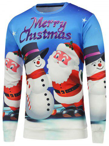 Discount 3D Christmas Santa Snowman Printed Sweatshirt - 2XL BLUE Mobile