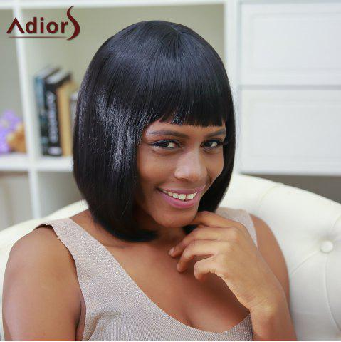 Best Medium Neat Bang Straight High Temperature Fiber Wig