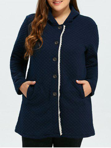 Trendy Button Up Lacework Hooded Coat