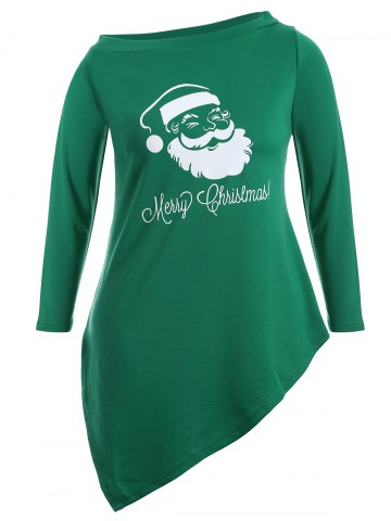 Unique Skew Neck Santa Claus Print Longline Tee - 3XL GREEN Mobile