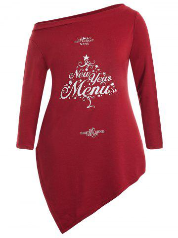Fashion Christmas Letter Skew Neck Longline Tee - 3XL RED Mobile