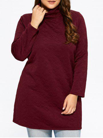Floral Patterned High Neck Dress - Wine Red - 2xl